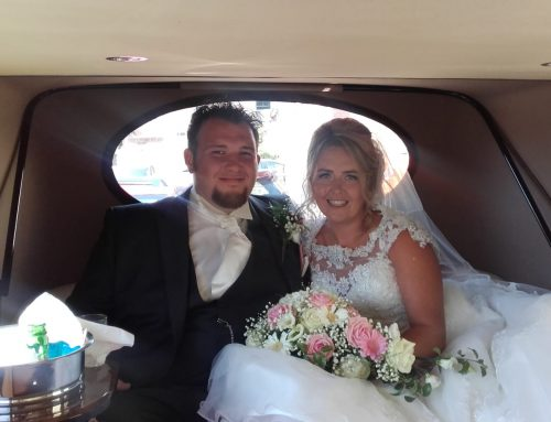 David and gemma arriving at Margam Orangry after getting married at St Annes Church Tonna big 4 car wedding